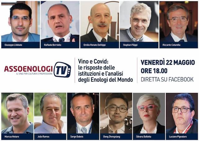 Doppio appuntamento con AssoenologiTv il vino nella crisi covid: le risposte delle istituzioni e l'analisi degli enologi del mondo